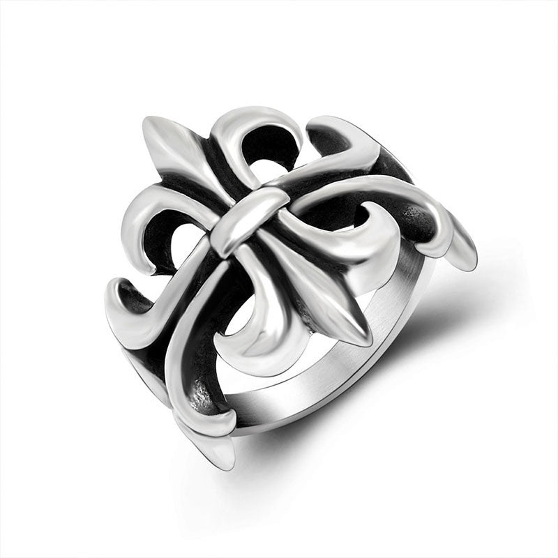 Hollow out scouting pattern ring personality fashion titanium steel jewelry for men and women SA809