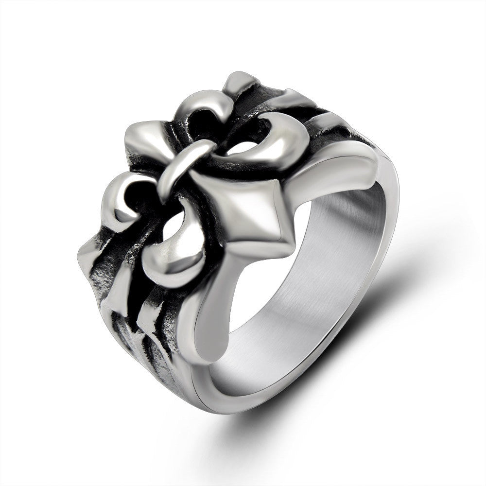 Hollow retro anchor flower ring handmade jewelry SA146