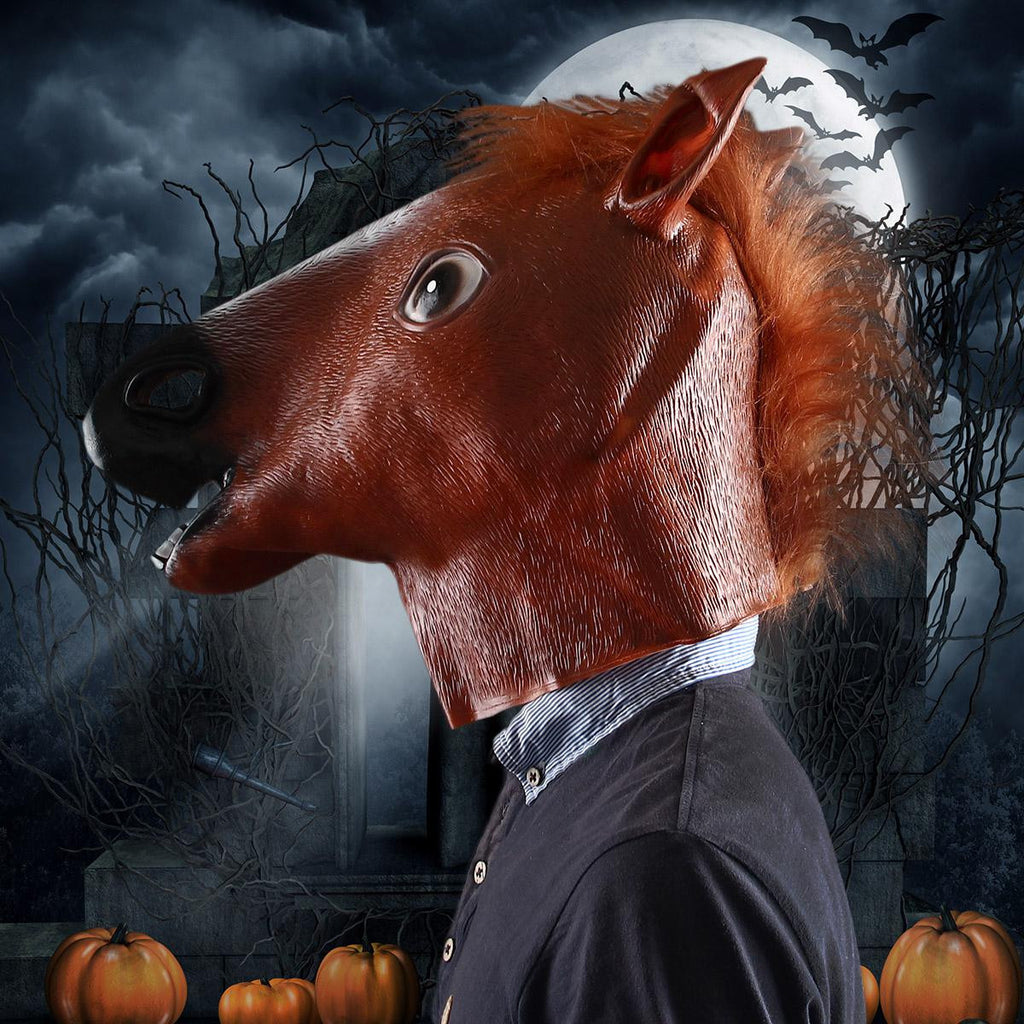 Halloween Costume Prop Funny Horse Head Mask – Brown + Black + White
