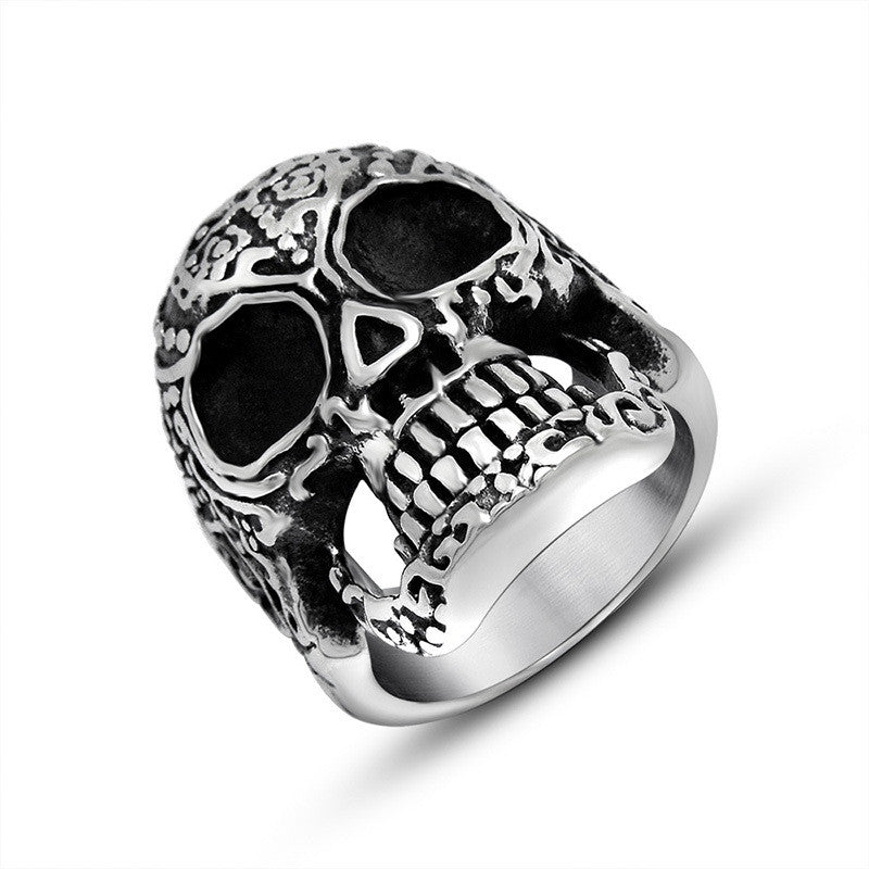 Hot Gothic retro Poker Skull Party Ring Rock Biker Stainless Steel Jewelry Gift SA494