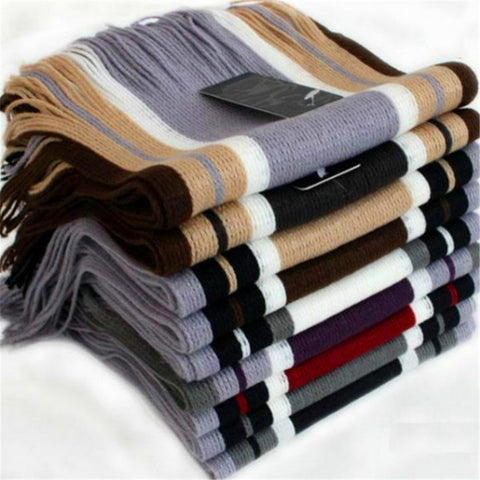 Hot Sale Men Classical Striped Artificial wool Tassels Scarf Long Pashmina Shawl