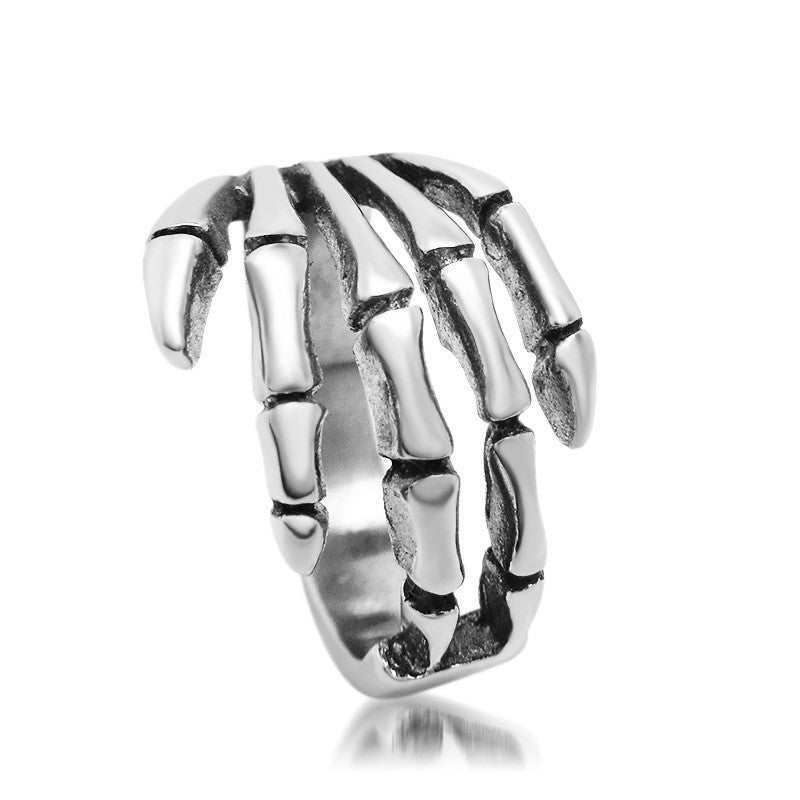 Jewelery new casting rings jewelry retro punk style skeleton hand ring titanium steel rings SA085
