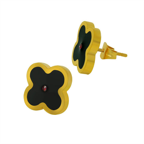 18k Golden lucky four leaf clover earrings titanium steel black female ear jewelry