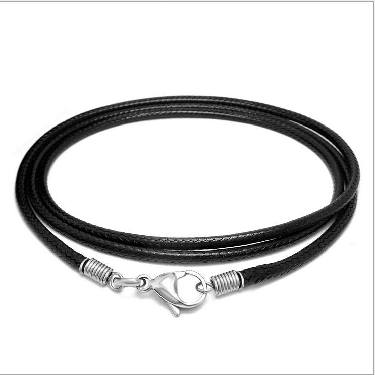 Simple black woven flax wax rope necklace man necklace han edition men fashion necklace LS - 001