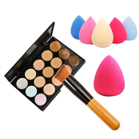 New 15 Colors Cream Makeup Set for pincel maquiagem Concealer Palette Water Sponge Puff Powder Brush pinceis