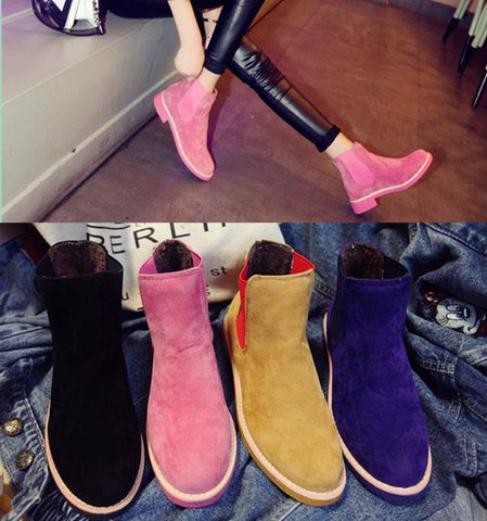 Brand Women Suede Leather Ankle Boots Flat Heels 9 Candy Colors Oxford Shoes
