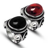 Palace restoring ancient ways is red black agate lovers ring Tide people contracted titanium steel jewelry