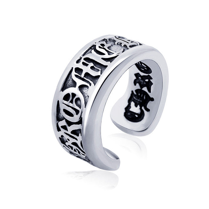 Personality ancient Rome opening single ring titanium steel Man Women jewerly SA349