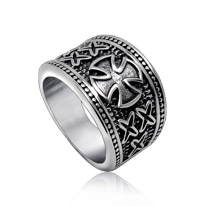 Personality concave clover lucky god star pattern men s jewelry ring SA375