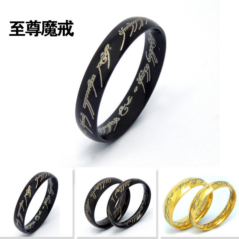 Personality exquisite special characters of black gold two colors ring female 4 8 male 7 11