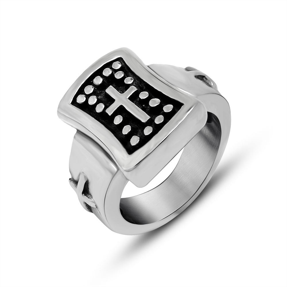 Personality is contracted cross pattern ring restoring ancient ways Hipster single men titanium steel jewelry SA285