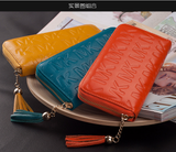 2016 new fashion women genuine leather long purse wallet phone card zip handbag