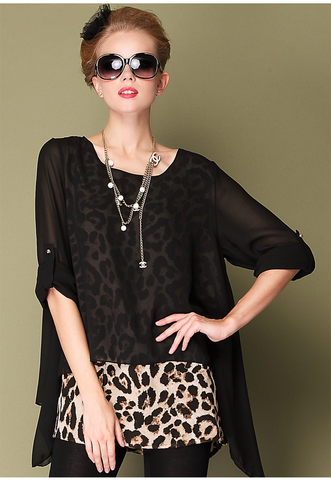 New Plus women top blouses fashion Leopard loose T-shirt