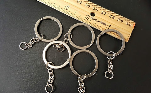 Keyring Silver Stainless Steel 8 Pcs/Set