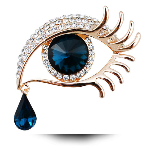 New Arrival Big Eye Teardrop Brooches For Women 18K Gold Plated Jewelry High Quality Rhinestone Crystal Brooch