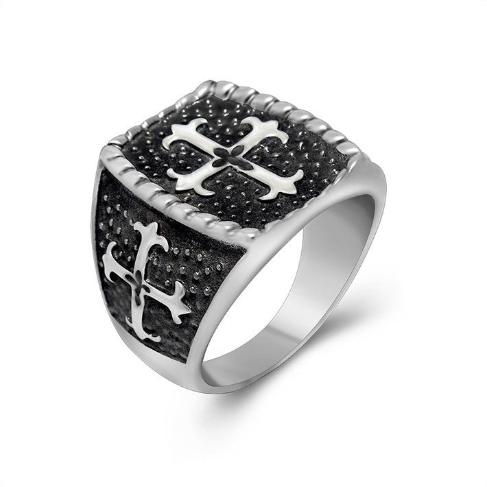 Retro Cross Ring Titanium jewelry manufacturers wholesale personality retro stainless steel ring SA571
