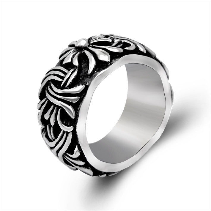 Retro Gothic Cross weave pattern appendix flower ring SA322