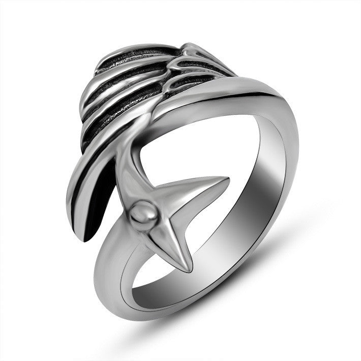 Retro Handmade small angel wings titanium steel ring fine jewerly SA424