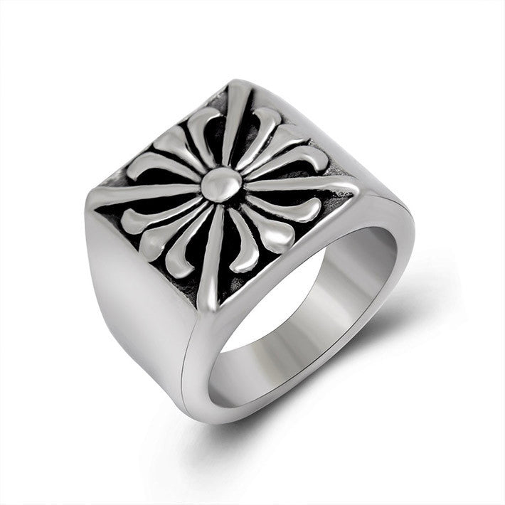 Retro cross flower titanium casting ring for man SA371 – MR ALFRED ...
