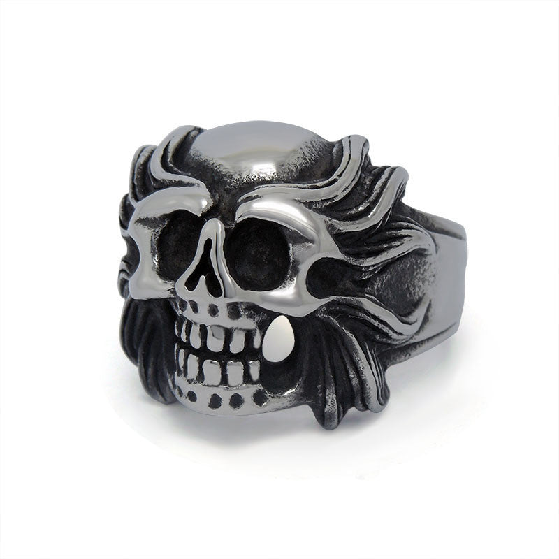 Retro magic variant of the lion head skull ring Titanium steel jewelry SA519