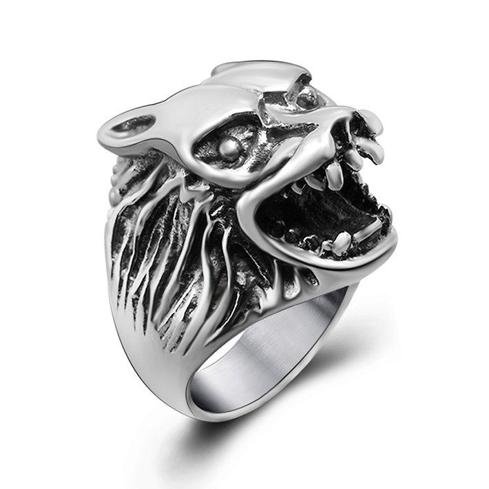 Retro personality roaring wolf jewelry wholesale price of high quality titanium steel ring SA385