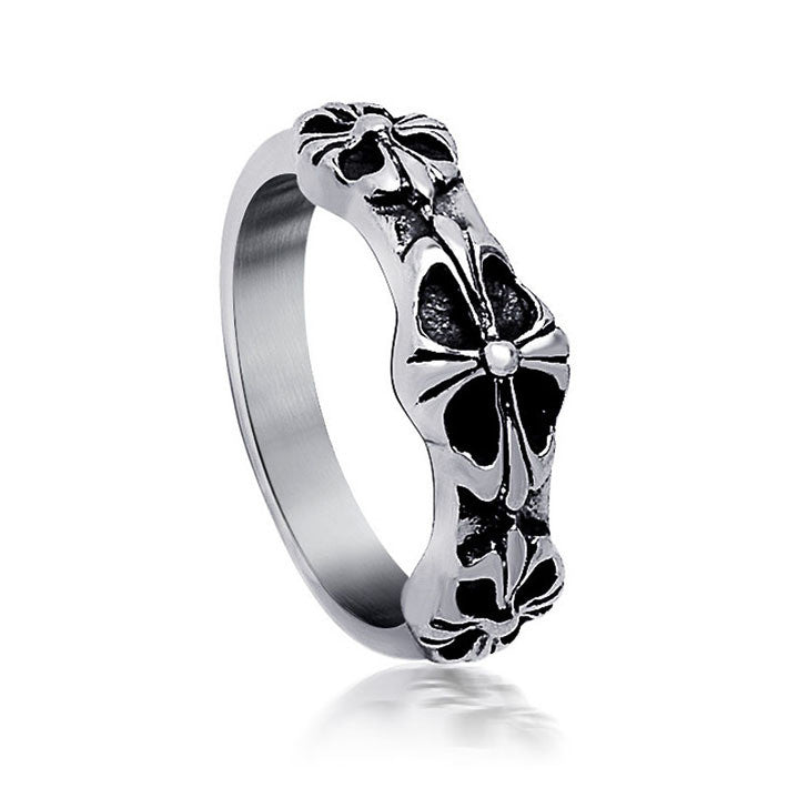 Retro three series cross flower Ladies Ring for women SA352