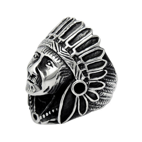 2017 Anel Punk Style Retro Indian Chief Index Finger Stainless Steel Unisex
