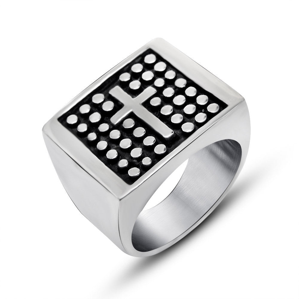 Retro wave cross pattern wide ring The Korea domineering personality man single titanium steel jewelry SA258