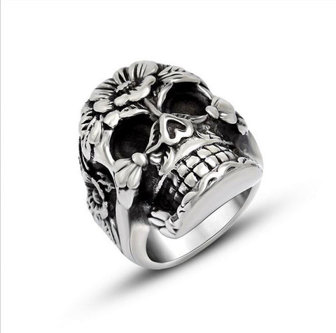2016 New Plants skull titanium steel ring Jewelry SA824