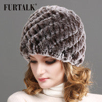 Winter rex rabbit fur hats and cap for women Genuine rabbit fur hat