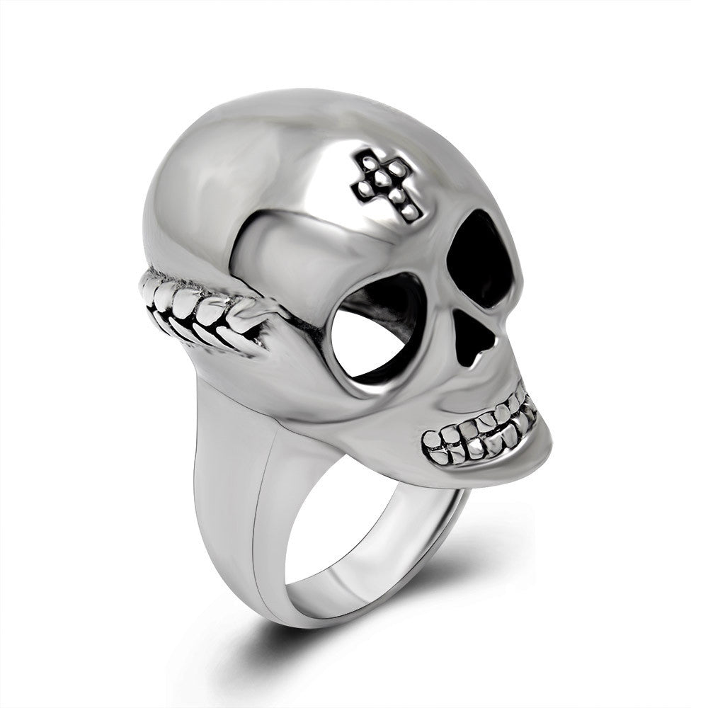 Simple domineering retro braids Skull Ring Titanium steel jewelry SA396
