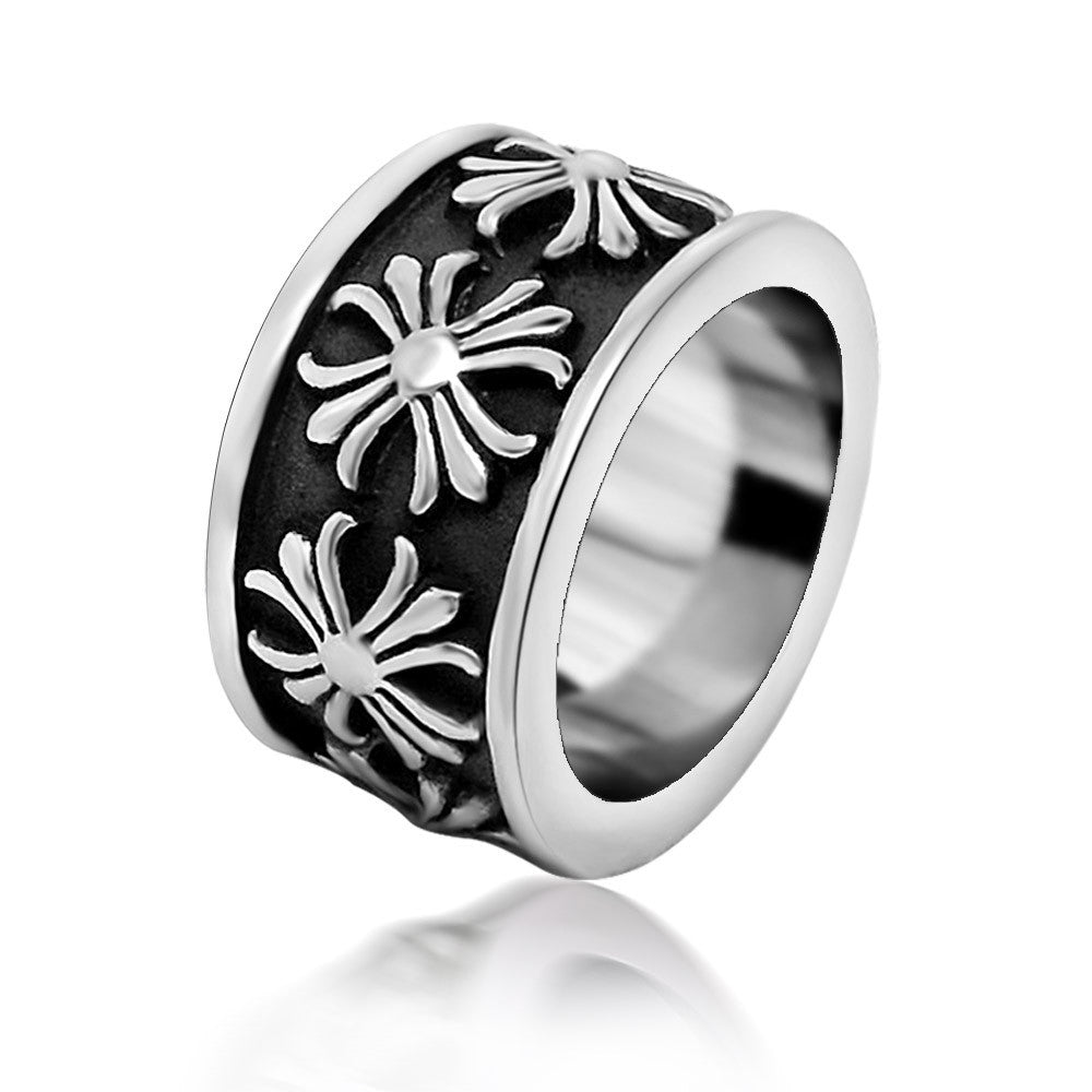 Simple retro delicate flower ring cross steel manufacturing Men s jewelry SA399