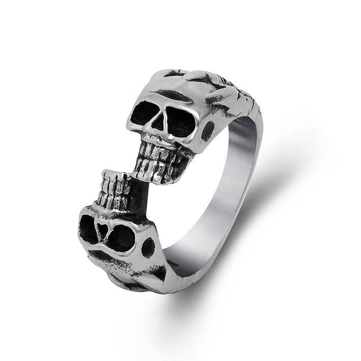 Small staggered double skull ring unique design handmade manufacture SA518
