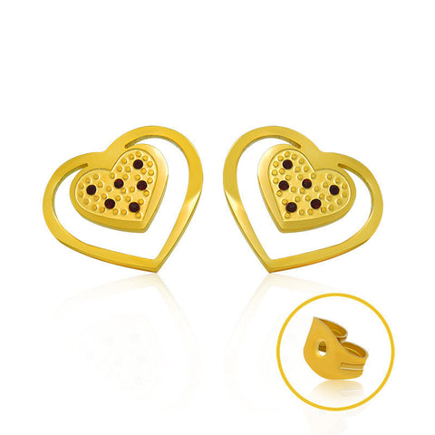 18k Golden Jewelry romanic series earrings Golden heart shaped jewelry CF080