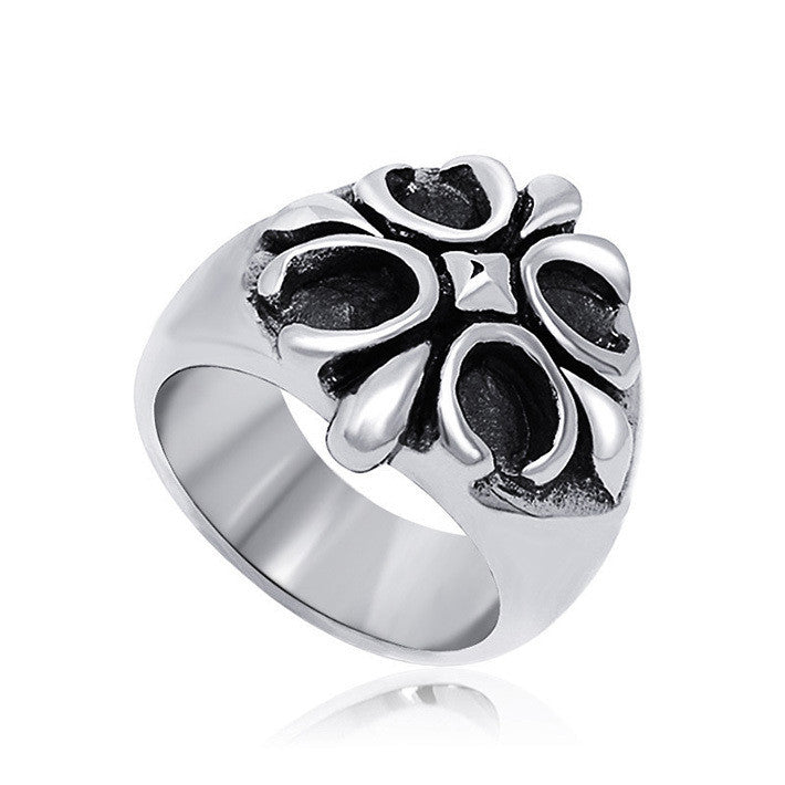 Specially beautiful cross flower petals drop ring for man SA355