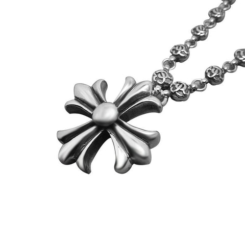 Stainless Steel Cool Vintage Flower Cross Pendant Necklaces For Boys Fashion Mens Accessories CE384