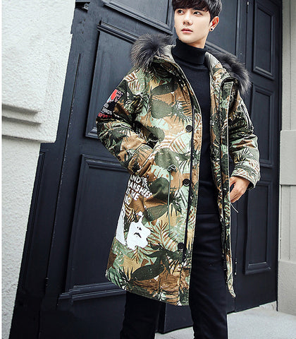 Fashion raccoon fur hood collar mid-long jacket man outerwear winter thickness