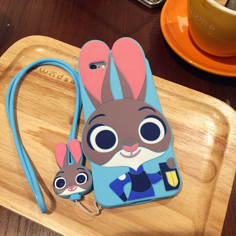 Cartoon Soft Silicone Protective Cover Cell Phones Cases 3D Embossed Touch Feel Brands with hand Rope