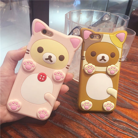 3D Silicone Protective Cover  iPhone 6/6S/Plus case easily bear wear cat suit with rope