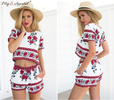 2016 New Style Summer Women Plus Size Elegant Retro Floral Printed Short Sleeved Mini Boho Beach Dresses Two Piece Outfits