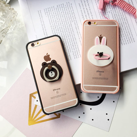 New cartoon iPhone case with ring stand & hang rope phone cover