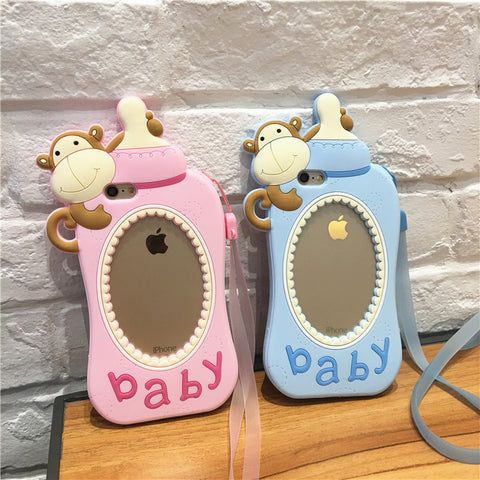 Korea BABY monkey milk bottle nipple iPhone cover 5S 6S plus silicone Gel cases with hand rope