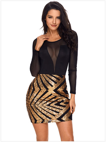 2018 Sexy Sequin Hollow Short Dress Unique Shiny Slim Party