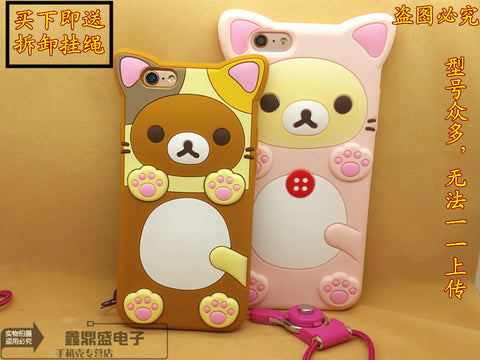 korea 3D Silicone Protective Cover Sumsumg phone case easily bear wear cat suit with Free a rope