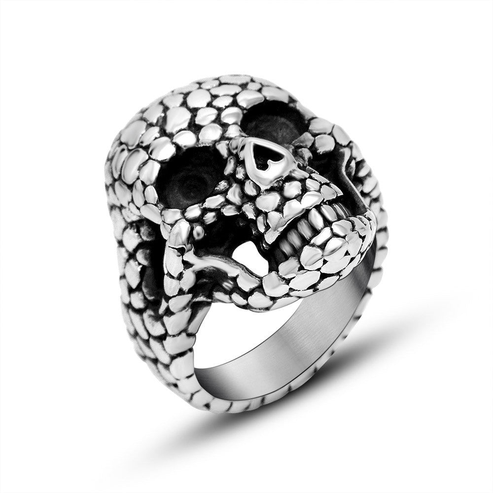 The new listing Classic goose warm stone skull ring of punk personality titanium steel jewelry SA746