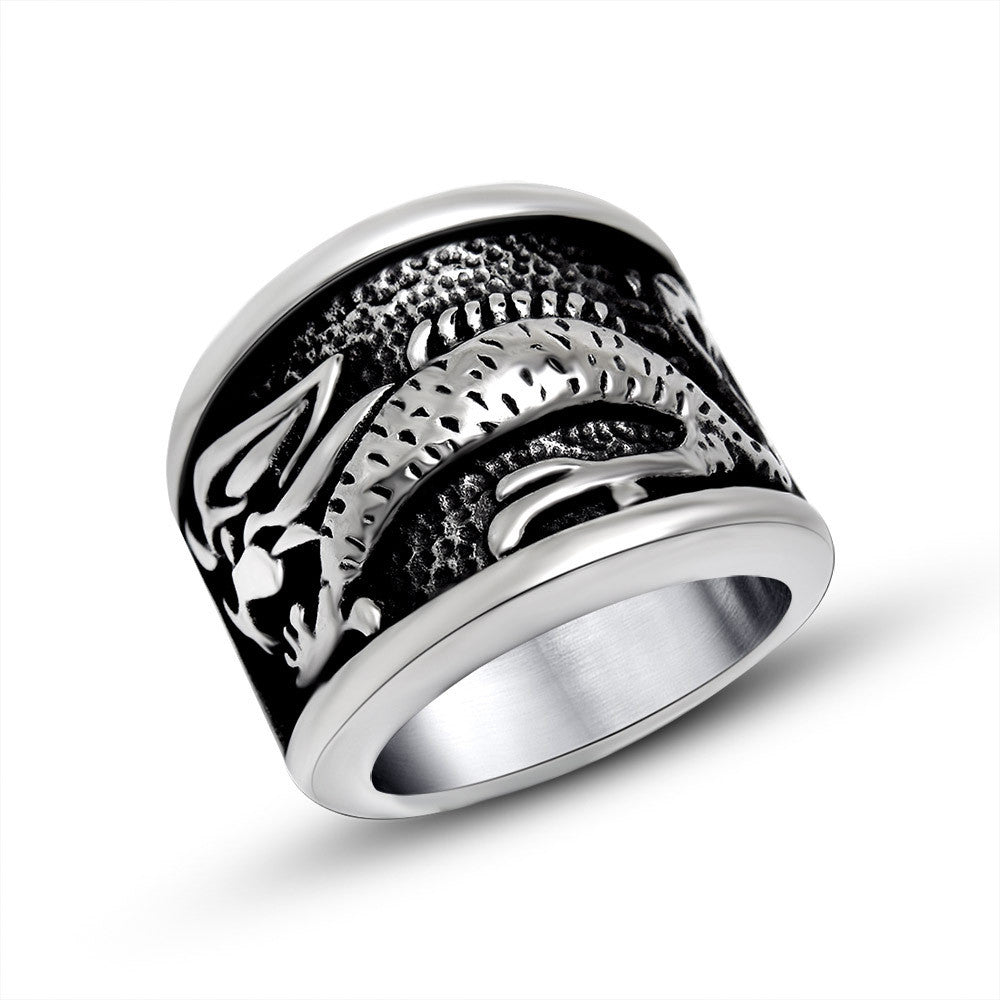 Unique design tide restoring ancient ways Chinese wind anaglyph auspicious cloud dragon man glamour ring jewelry