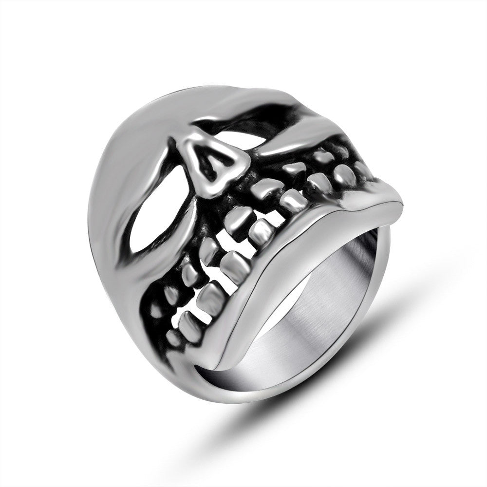 Unique vintage narrowed eyes ghost head shape ring domineering personality titanium steel jewelry SA739