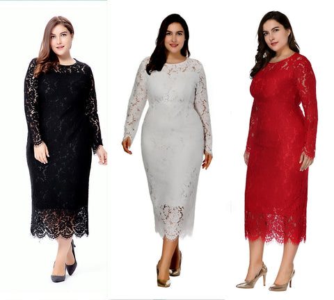 2018 Plus 6XL New Elegant Lace Dress mid-long fit women long sleeve