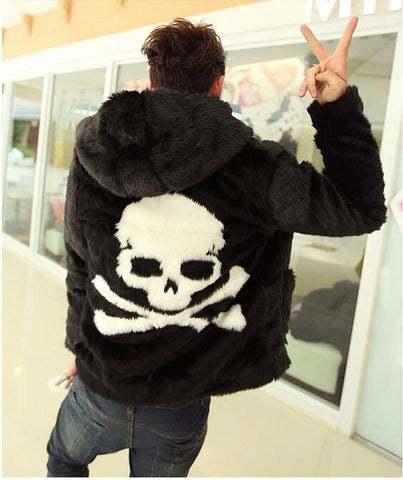 Fashion Men Hoodie faux fur coat Cozy black rabbit fur jacket