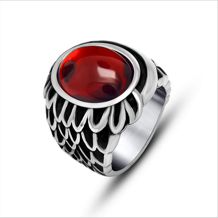 Trendy vintage red agate rings the wings of the angel couple ring titanium steel SA735